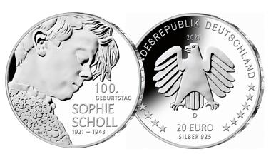 """20-Euro-Sammlermünze 2021 """"100. Geburtstag Sophie Scholl"""""""