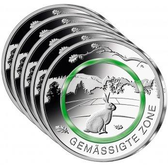 """5-Euro-Polymerring-Sammlermünzen-Set 2019 """"Gemäßigte Zone"""""""