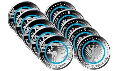 "5-Euro-Polymerring-Sammlermünzen-Set 2020 ""Subpolare Zone"""