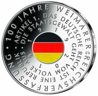 """20-Euro-Sammlermünze 2019 """"100 Jahre Weimarer Reichsverfassung"""""""