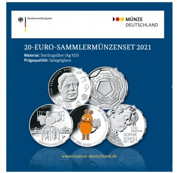 20-Euro-Sammlermünzen-Set 2021 Spiegelglanz
