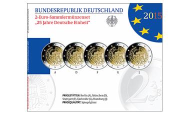 """2-Euro-Sonderset 2015 """"25 Jahre Deutsche Einheit"""" (SP)"""