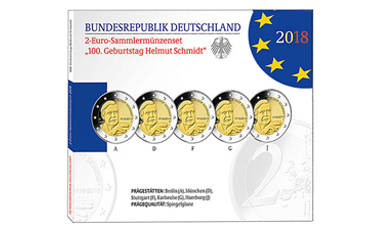 """2-Euro-Sonderset 2018 """"100. Geburtstag Helmut Schmidt"""""""