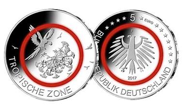 """5-Euro-Polymerring-Sammlermünze 2017 """"Tropische Zone"""""""