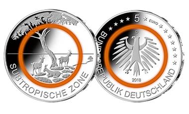 """5-Euro-Polymerring-Sammlermünze 2018 """"Subtropische Zone"""""""