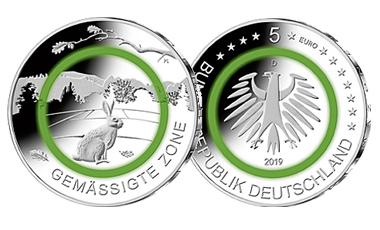 """5-Euro-Polymerring-Sammlermünze 2019 """"Gemäßigte Zone"""""""