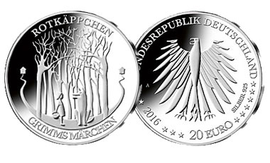 """20-Euro-Sammlermünze 2016 """"Rotkäppchen"""""""