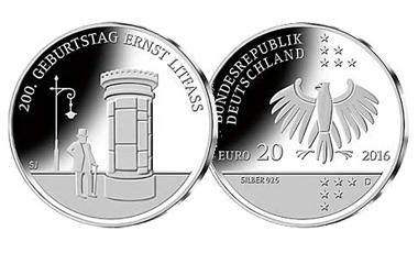 """20-Euro-Sammlermünze 2016 """"200. Geburtstag Ernst Litfaß"""""""