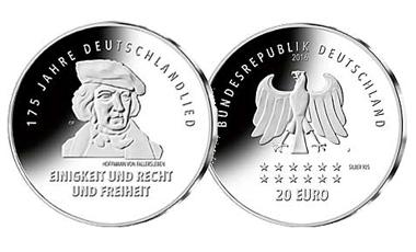"""20-Euro-Sammlermünze 2016 """"175 Jahre Deutschlandlied"""""""