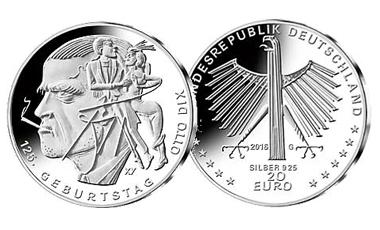 """20-Euro-Sammlermünze 2016 """"125. Geburtstag Otto Dix"""""""