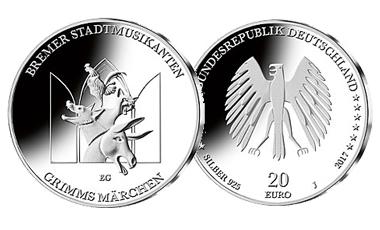 "20-Euro-Sammlermünze 2017 ""Bremer Stadtmusikanten"""