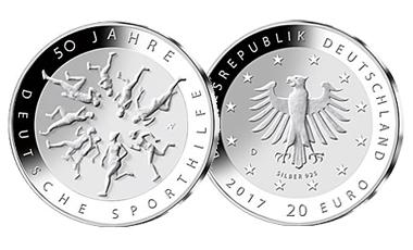"""20-Euro-Sammlermünze 2017 """"50 Jahre Deutsche Sporthilfe"""""""