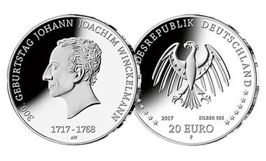 """20-Euro-Sammlermünze 2017 """"300. Geburtstag Johann Joachim Winckelmann"""""""