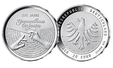 """20-Euro-Sammlermünze 2018 """"275 Jahre Gewandhausorchester"""""""