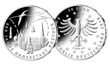 """20-Euro-Sammlermünze 2018 """"800 Jahre Hansestadt Rostock"""""""
