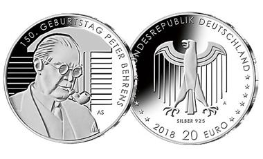 """20-Euro-Sammlermünze 2018 """"150. Geburtstag Peter Behrens"""""""