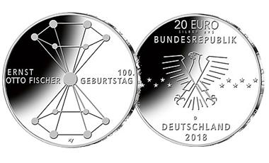 """20-Euro-Sammlermünze 2018 """"100. Geburtstag Ernst Otto Fischer"""""""