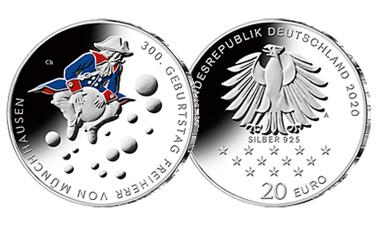 """20-Euro-Sammlermünze 2020 """"300. Geburtstag Freiherr von Münchhausen"""""""