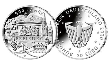 """20-Euro-Sammlermünze 2020 """"900 Jahre Freiburg"""""""