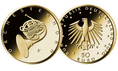 "50-Euro-Goldmünze 2020 ""Musikinstrumente - Orchesterhorn"""