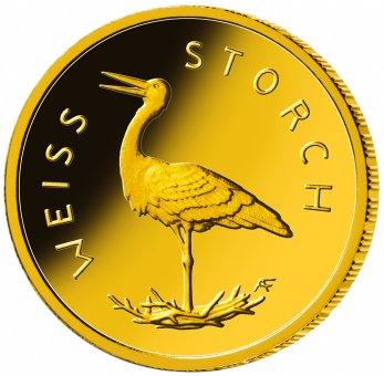 """20-Euro-Goldmünze 2020 """"Heimische Vögel - Weißstorch"""""""